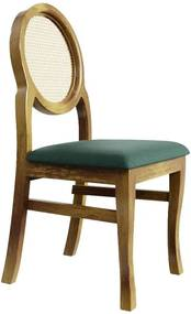 Cadeira de Jantar Medalhão Contemporânea Palha Veludo Garden Green - Wood Prime 38039