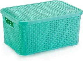 Caixa Organizadora de Plástico Rattan Médio com Tampa Verde