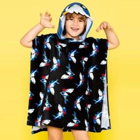 Toalha Infantil Poncho com Capuz Puket Tubarão Preto