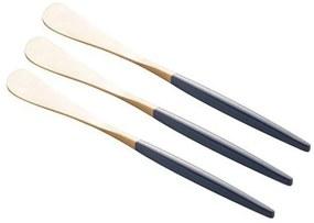 Jogo Espátulas Inox 3 Peças Kyoto Dourado Azul 71572 Wolff