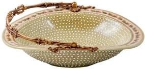 Cesto Decorativo de Porcelana e Bronze - Linha Flower