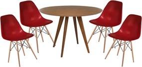 Conjunto Mesa Square Redonda Louro Freijó  80cm + 4 Cadeiras Eiffel Bordô
