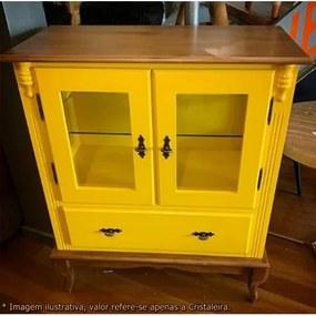 Cristaleira Baixa Mime Laca Amarela com Vidro e Base Imbuia - 47005 Sun House