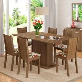 Conjunto Sala de Jantar Madesa Megan Mesa Tampo de Madeira com 6 Cadeiras Rustic/Floral Hibiscos Cor:Rustic/Floral Hibiscos
