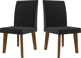 Kit com 2 Cadeiras Jade Pé Oblongo Preta - RV Móveis