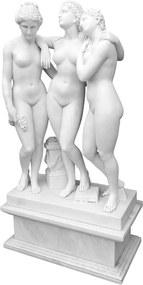 Escultura Decorativa 3 Damas em Mármore Branco - 155x81x45cm