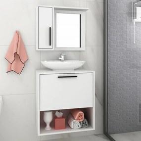 Conjunto Banheiro Ardon Suspenso C/ Espelho Branco