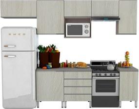 Conjunto Cozinha Completa Cleto 3,00m C/ 7 Portas Malbec / Legno Crema