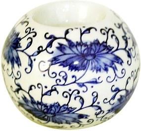 Castiçal Decorativo em Porcelana Redondo Azul e Branco