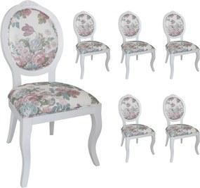Jogo 6 Cadeiras Medalhão Lille - Branco - Tecido Floral Aimée  Kleiner Schein