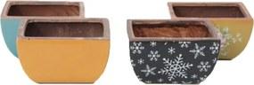 Jogo de Cachepot em Cerâmica Colorido 4 unidades Modelo 05