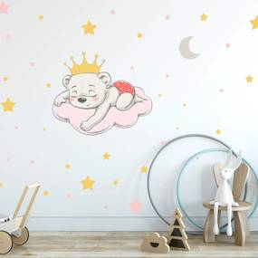 Adesivo de Parede Infantil Ursinha Princesa Para Quarto de Bebê