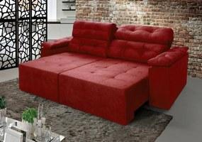 Sofá New Itália 2,00 Mts Retrátil e Reclinável Tecido Suede Vermelho - Cama InBox