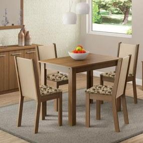Sala de Jantar Cíntia Mesa com 4 Cadeiras - Rústico/ Crema/ Floral