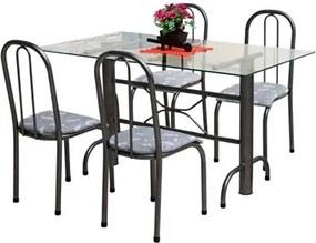 Jogo de Mesa e 04 Cadeiras Itália Craqueado/Cinza Floral - Marcheli