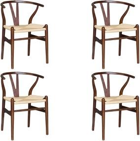Kit 4 Cadeiras Decorativas Sala de Jantar e Cozinha Bella Madeira Bétula Tabaco - Gran Belo