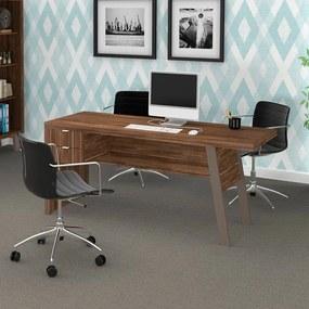 Mesa para Escritório 2 Gavetas Me4122 Nogal/Fendi - Tecno Mobili