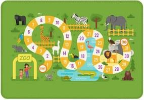 Tapete de Atividades Infantil Tabuleiro Zoo Único Verde