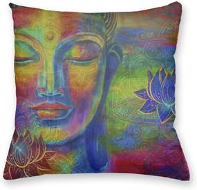 Almofada Decorativa Own Colorida Buda e Flor de Lótus 45x45 - Almofada Completa