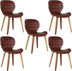 Kit 5 Cadeiras Decorativas de Escritório Recepção GranClass (PU) Marrom  - Gran Belo