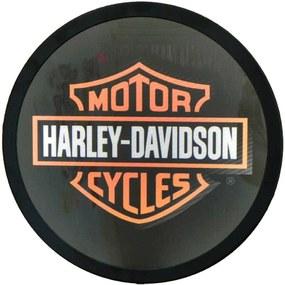 Luminoso sem Fio Harley Davidson Preto Redondo em Alumínio com LED