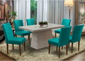 Conjunto Mesa Musa 160X90 Branco + 6 Cadeiras Musa 100% MDF Castanho