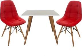 Conjunto Mesa Square Quadrada Branco Fosco 90x90cm + 2 Cadeiras Eiffel Botonê Vermelha