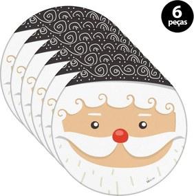 Capa para Sousplat Mdecore Natal Papai Noel Branco 6pçs