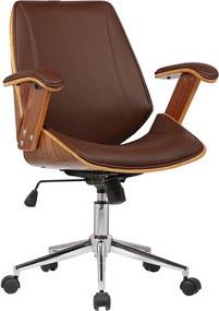 Cadeira de Escritório Diretor Giratória com Regulagem de Altura Akon PU Marrom - Gran Belo