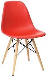 Cadeira Eiffel Charles Eames Vermelho F01 com Base de Madeira DSW