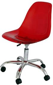 Cadeira Eames com Rodizio Policarbonato Vermelha - 19292 Sun House