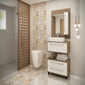 Conjunto de banheiro Eleganza com nichos e gavetão Castanho e Branco - Ozini Móveis.