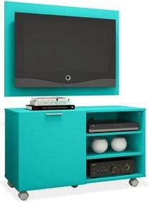 """Painel e Rack para TV de até 32"""", Azul Turquesa, Fox"""