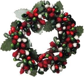 Mini Guirlanda DecoraçÁo Natal Folhas Frutas 9Cm Vermelha