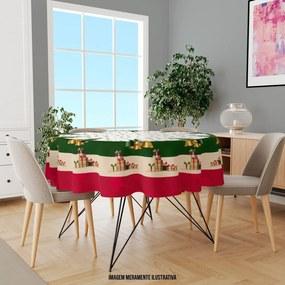Toalha de Mesa Redonda para 4 Lugares Pinheiros e Presentes Natalinos 1.45m Único