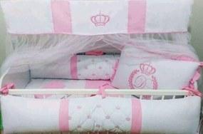 Kit Berço Americano I9 baby Coroa Rosa Com Letra Personalizada