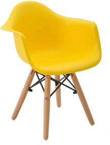 Cadeira Eiffel Infantil Com Braço Amarelo Base MADEIRA Rivatti Móveis