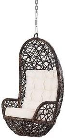 Poltrona de Balanco Ninho em Fibra cor Argila com Almofada cor Branca e Suporte de Teto - 45317 Sun House