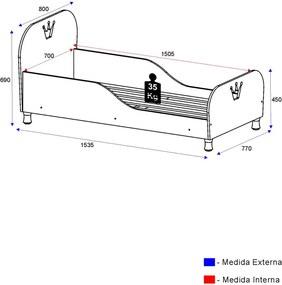 Mini Cama Rei/Rainha Rosa 2321.157 Multimóveis