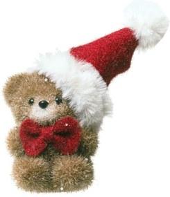 Mini Ursinho DecoraçÁo Natalina 15 Cm Cor Marrom Plástico