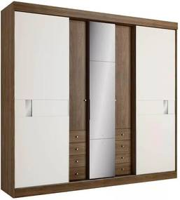 Guarda-Roupa 5 Portas THB, Sognare Glass, Carvalho Sensitive e Off White
