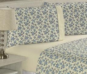 Roupa de Cama Casal Queen Suprema 180 Fios 04 Peças - Floral Azul