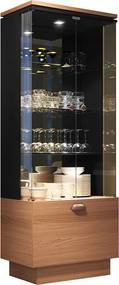 Cristaleira Decorativa com Nicho Adega Embutido Peggy Preto / Nature - Gran Belo