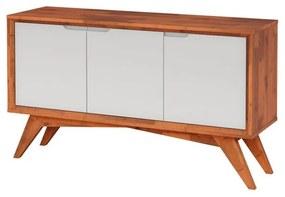 Buffet Serafim 3 Portas Natural e Branco - Wood Prime MP 27618