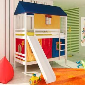 Beliche infantil Teen Play c/ Escorregador, Telhado Completo Multicores - Madeira Maciça - Casatema