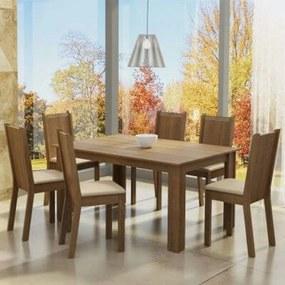Conjunto Sala de Jantar Madesa Analu Mesa Tampo de Madeira com 6 Cadeiras Rustic/Pérola Cor:Rustic/Pérola