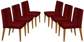 Kit 6 Cadeiras de Jantar Estofada Bordô em Veludo Dizayn