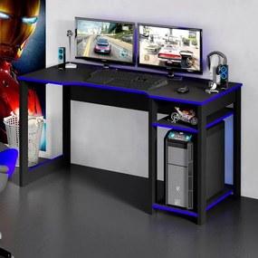 Mesa Gamer Escrivaninha Tecno Reversível Preto Azul