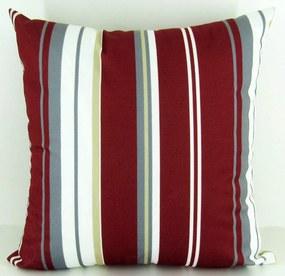Capa almofada LYON Veludo estampado Listras Vermelho 50x50cm