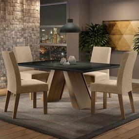 Conjunto Sala de Jantar Madesa Dandara Mesa Tampo de Vidro com 4 Cadeiras Rustic/Preto/Imperial Cor:Rustic/Preto/Imperial